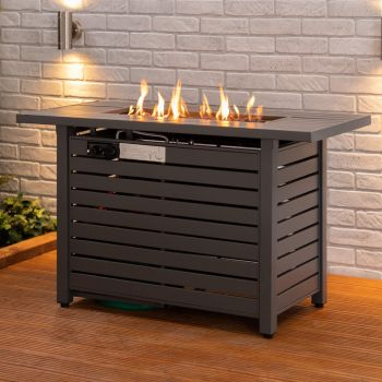 Fire Mountain Rectangle Gas Fire Pit with Lava Rocks and Protective Cover