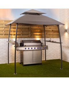BBQ Grill Gazebo Shelter Canopy Steel Frame with Side Shelves and Ventilation
